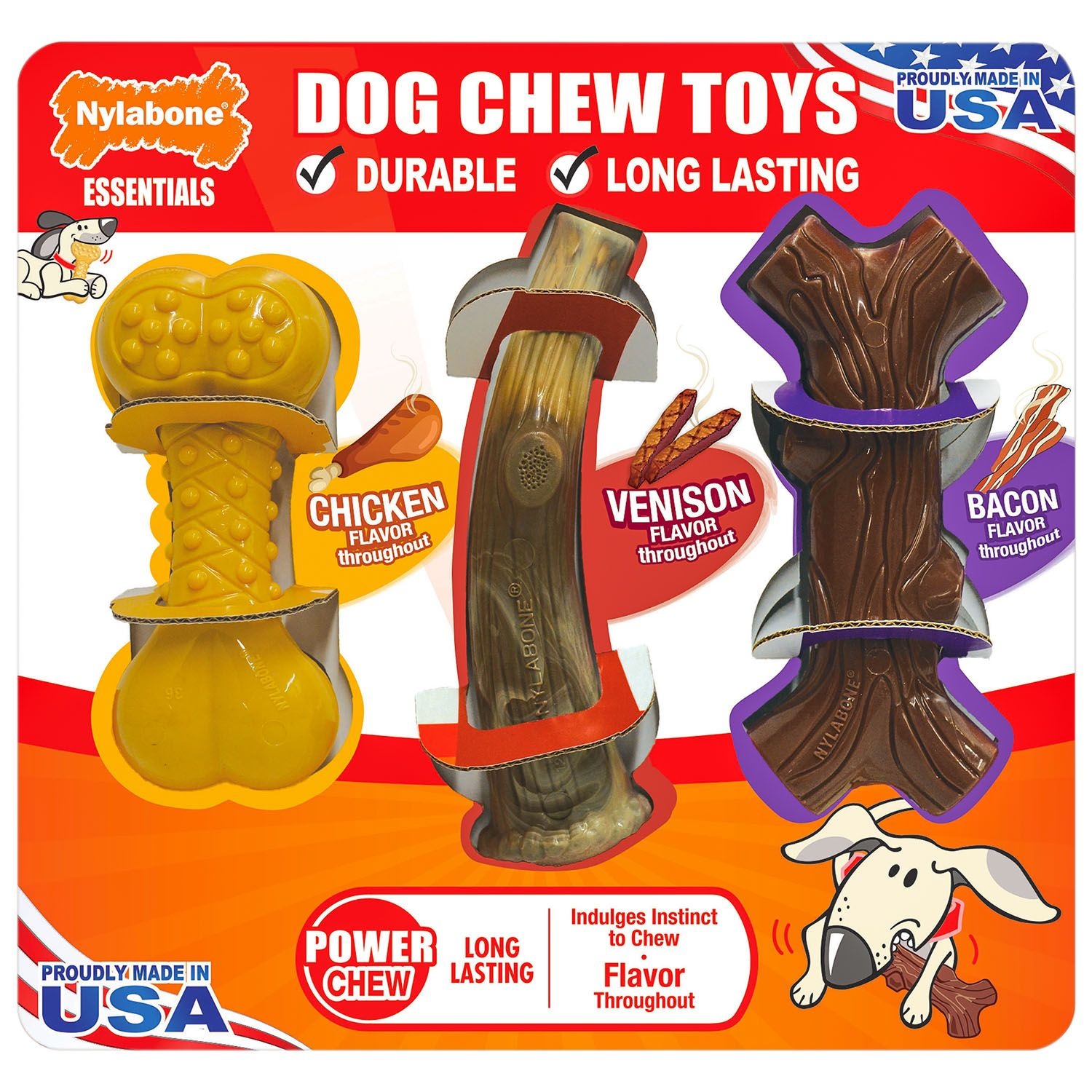Nylabone Essentials Dog Chew Toys, 3 pk